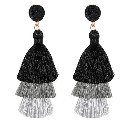 (Tassel Earrings for Womens Girls Fashion Colorful Layered Bohemian Dangle Drop Tiered Tassel Druzy Stud Earrings Holiday Gifts)