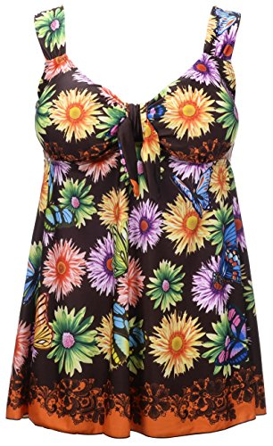 Women's Plus Size Swimsuit Floral Butterfly Printed Swimdress Two Piece Tankini Daisy in Brown US 18-20W ()