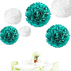 Since ® 12PCS Mixed Sizes White & Teal Blue Tissue Paper Flower Balls Pom Poms Pompoms Wedding Party Decoration Holiday Supplies