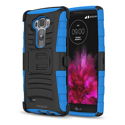 LG G Flex 2 Case, MoKo Shock Absorbing Hard Cover Ultra Protective Heavy Duty Case with Holster Belt Clip + Built-in Kickstand for LG G Flex 2 5.5 Inch (2015) - Blue