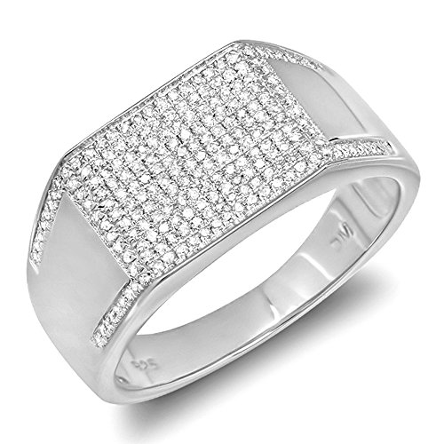 0.85 Carat (ctw) Sterling Silver Round Diamond Mens Flashy Hip Hop Pinky Ring (Size 9)