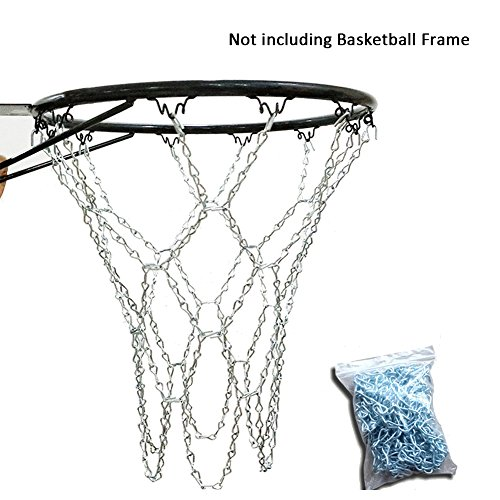 all Net, Steel Chain Basketball Net,Metal Replacement Basketball Net with 12 Tighten Hooks ()