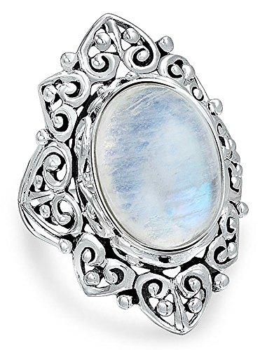 Oval Rainbow Moonstone Ring - Vintage Style Filigree Oval Rainbow Moonstone Sterling Silver Ring