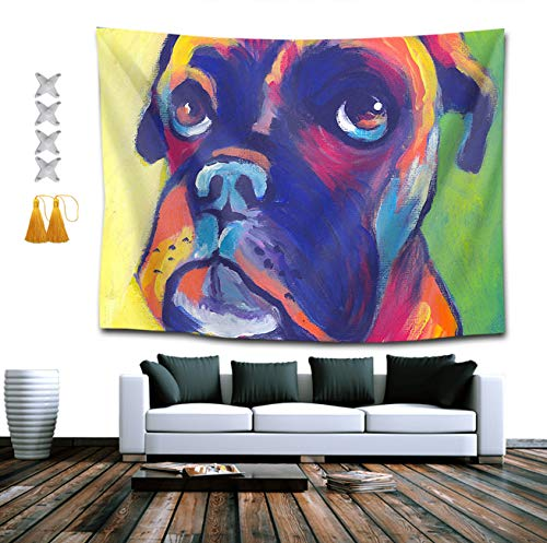 Boxers Indian (BOYOKO ME Wall Hanging Queen Tapestries + Tassel + Thumbtacks, Boho Hippie Hippy Wall Tapestry, Indian Dorm Decor, Animal Boxer Dog, Kids Girls Boys Room Hippie Tapestry)