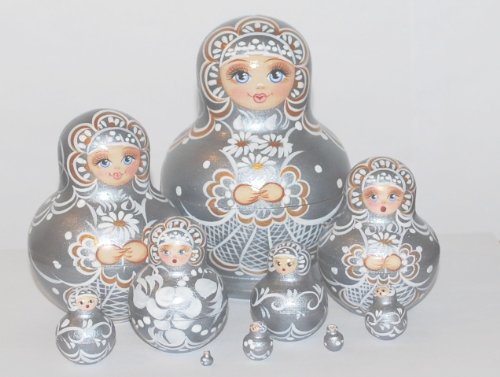 Unique Russian Hand Painted Handmade Silver Nesting Dolls Set of 10 Pcs Floral Artist Signed by GSZ (Image #4)