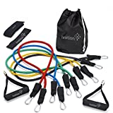 Ivation Resistance Band Set – Detachable Foam Grip Handles, Door Anchor, Ankle Straps, Starter Guide & Carrying Case Included