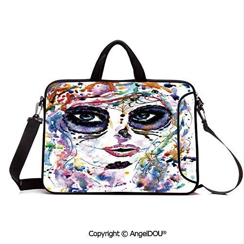 AngelDOU Customized Neoprene Printed Laptop Bag Notebook Handbag Halloween Girl with Sugar Skull Makeup Watercolor Painting Style Creepy Decorati Compatible with mac air mi pro/Lenovo/asus/acer M