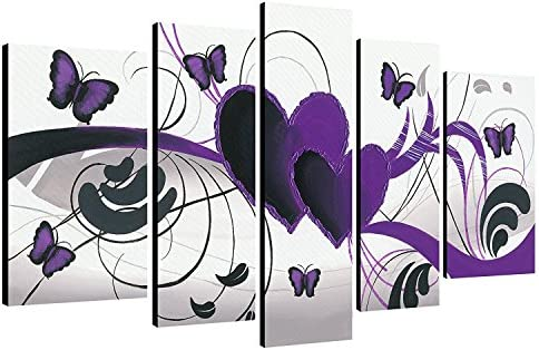 Wieco Art Purple Love Butterfly 5 Panels Modern 100 Hand Painted Stretched and Framed Abstract Romance Artwork Oil Paintings on Canvas Wall Art Ready to Hang for Home Decor 5pcs Set