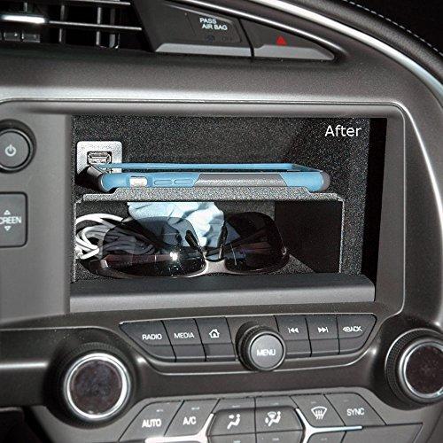 Stingray Insert - C7 Corvette Stingray/Z06/Grand Sport 2014+ Dash Storage Accessory Shelf - Black Powder Coated Aluminum
