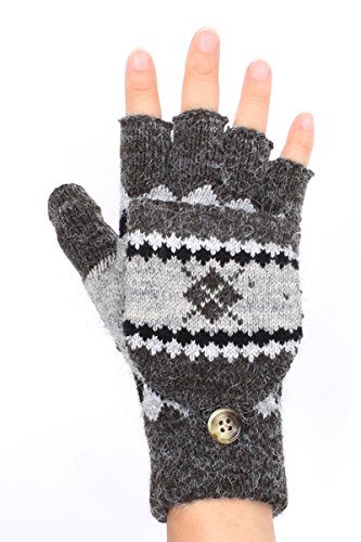 LL. Unisex Dark Charcoal Gray Skiers Diamond Flip Top Fingerless Glove Mittens