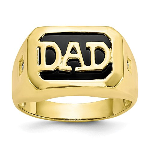 (10k Yellow Gold Mens Diamond Black Onyx Dad Band Ring Size 10.00 Man Fine Jewelry Gift For Dad Mens For Him )