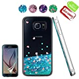 ATUMP Samsung Galaxy S6 Case Clear Flexible Bling Glitter Liquid Slim Fit TPU Silicone Shell Shockproof Anti Scratch Girls Phone Cover Cases + HD Screen protector for Samsung Galaxy S6 Blue