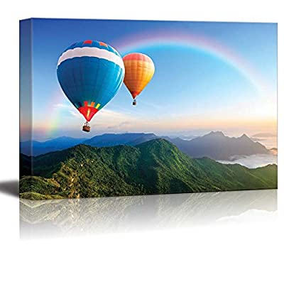 Canvas Prints Wall Art - Colorful Hot-Air Balloons Flying Over The Mountain | Modern Wall Decor/Home Art Stretched Gallery Canvas Wraps Giclee Print & Ready to Hang - 12