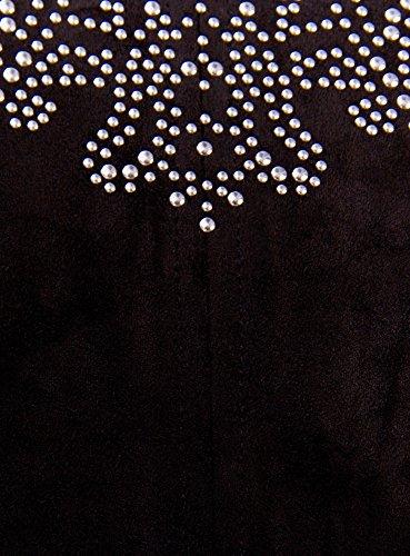 con oodji Nero Ultra Decorazioni Strass Artificiale Camoscio Top Donna in 2900n Metallici in PPCYwrq