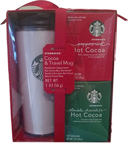 Starbucks Peppermint and Double Chocolate Hot Cocoa and Travel Mug Set (Starbucks Gift Sets Christmas)
