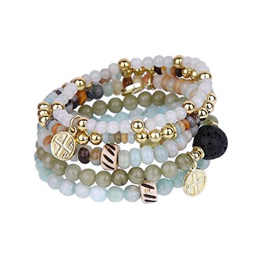 tom+alice Beaded Bracelets for Women Stackable Handcut Natural Stones 5 pcs Ermish Stretch Set Bangle