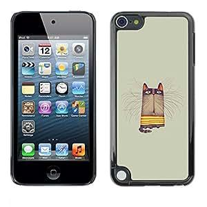 FECELL CITY // Duro Aluminio Pegatina PC Caso decorativo Funda Carcasa de Protección para Apple iPod Touch 5 // Grey Pastel Colors Yellow Animal Cartoon