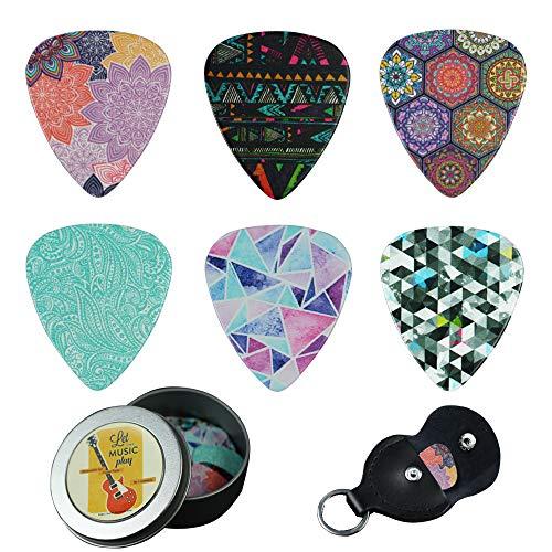 Guitar Picks - Cheliz 12 Medium Gauge Celluloid Guitar Picks In a Box W/Picks Holder. Unique Guitar Gift For Bass, Electric & Acoustic Guitars (Colourful Pattern) (Guitar Picks For Girls)