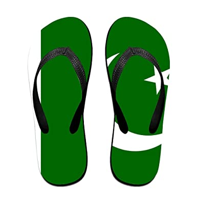 95abca64a5b5 Amazon.com  Pakistan Flag Comfortable Flip Flops For Children Adults Men  And Women Beach Sandals Pool Party Slippers  Clothing