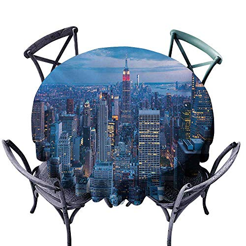Custom Tablecloth,New York,Aerial Night View of NYC with