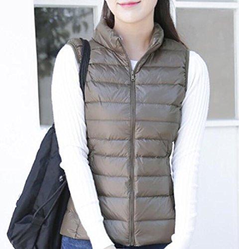 Casual Vest Doufine Down Coats Khaki Plus Size Women Jacket Outerwear Thin xWAYpq0Yn