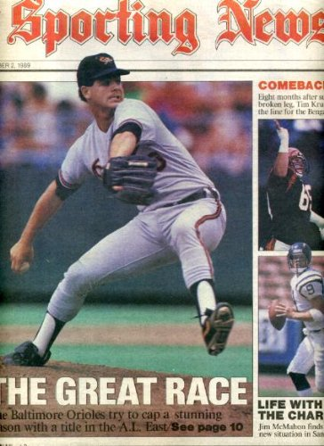 - Sporting News October 2 1989 Gregg Olson/Baltimore Orioles Cover, Jim McMahon/San Diego Chargers, Tim Krumrie/Cincinnati Bengals, College Football - Michigan Wolverines, Pitt vs Syracuse, USC vs Ohio State