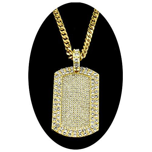Out Gold Hip Hop Chain (AOVR Hip Hop CUBAN LINK Chain 14k Gold Silver Plated CZ CRYSTAL Bling Bling Fully Iced-Out Dog Tag Pendant (Gold))