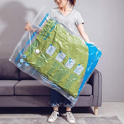 "MEIQIHOME 7 Jumbo Vacuum Storage Bags (40""x30"") Space Saver Bags for Clothes Pillows Blankets Comforters with Hand Pump"