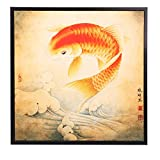 """INK WASH Lucky Feng Shui Koi Fish Carp Painting Wall Art for Home Decoration Living Room Office Decor 13""""x13"""""""