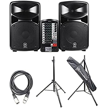 yamaha stagepas 600i portable pa system with 2 on stage classic speaker stands and. Black Bedroom Furniture Sets. Home Design Ideas