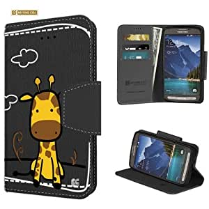 Beyond Cell ® Premium 2 Layer Protection Slim Luxury PU Leather Folio Magnetic Design Flip Cover Wallet Phone Case With Built in Media Stand and Card Slots For Samsung Galaxy S5 Active / SM-870A - Black/Black - Giraffe - Retail Packaging