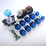 Easyget Arcade Parts Bundles Kit with MAME Game Round Ball Top Handle LED Gamepads inside Microswitches LED Exit Buttons To Build Up Family Arcade Machine - Blue Sets