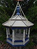 Hanging Poly Bird Feeder Amish Gazebo Handcrafted Homemade Clay & Blue