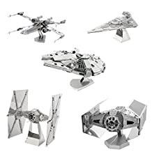 Metal Earth 3D Model Kits - Star Wars Set of 5 - Millennium Falcon - X-Wing - Imperial Star Destroyer - TIE Fighter - Darth Vader's TIE Fighter
