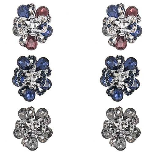 - Carede Small Rhinestone and Crystal Metal Jaw Hair Clips,Butterfly Pattern Hair Claw Clip,Hair Pins Clamps for Girls,Pack of 6