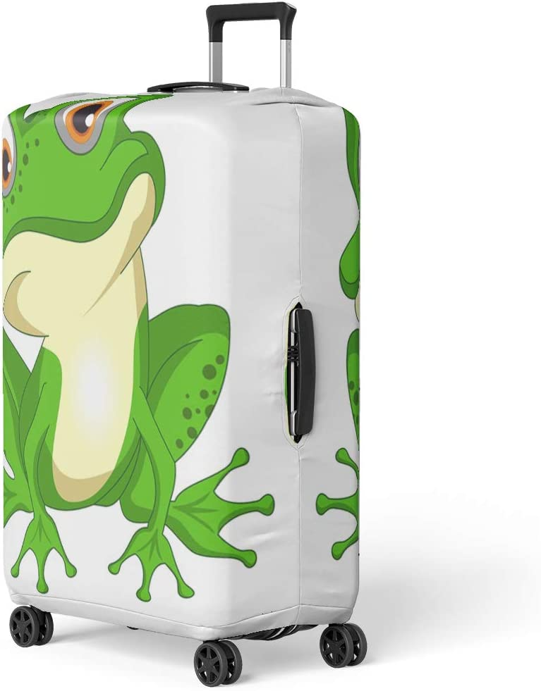 Pinbeam Luggage Cover Cartoon Frog Toad Amphibians Clipart Comic Crown King Travel Suitcase Cover Protector Baggage Case Fits 26-28 inches