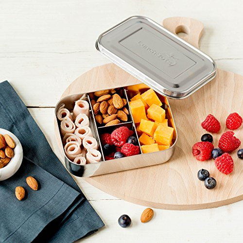 LunchBots Small Protein Packer Snack Container - Mini Stainless Steel Food Box With Portion Control Sections - Great for Nuts, Meat, Cheese and Finger Foods - Eco-Friendly, Dishwasher Safe and Durable by LunchBots (Image #2)