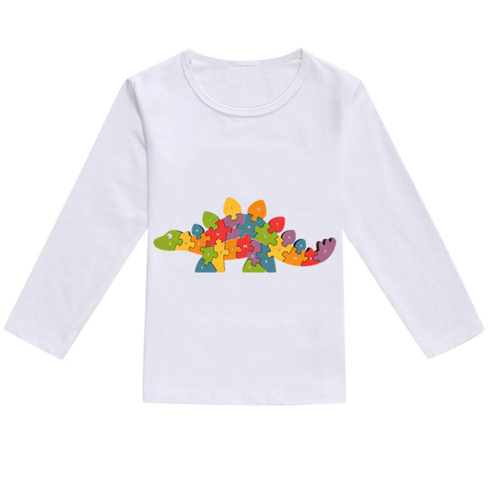 NUWFOR Toddler Baby Kids Boys Girls Spring Dinosaur Print Tops T-Shirt Casual Clothes(Multicolor,2-3 Years)
