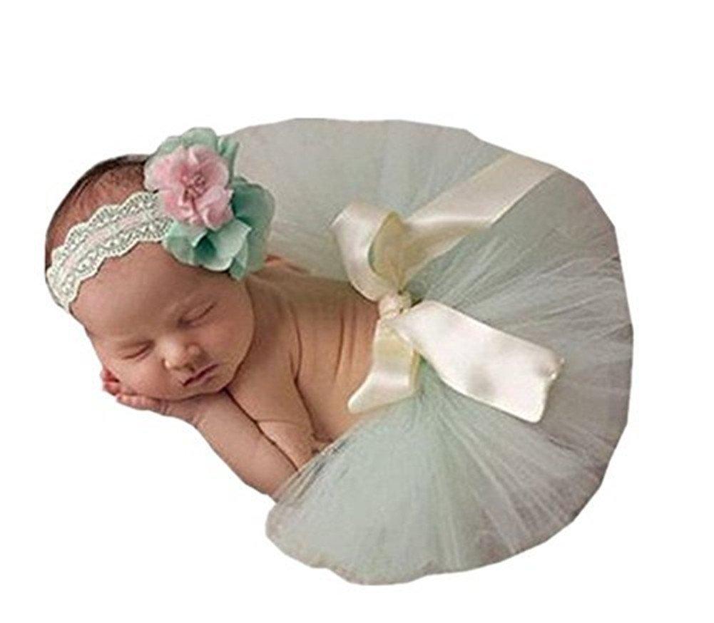 Binlunnu Newborn Baby Photography Props Boy Girl Crochet Costume Outfits Tutu Skirt