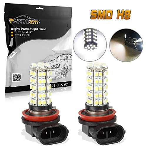 Driving Lights Honda (Partsam Car White LED H8 H11 Fog Driving Bulb Light Lamp 12V 68-3528-SMD DRL Daytime Running Light 64212 Super Bright Xenon White 6000k Led (A Pair))
