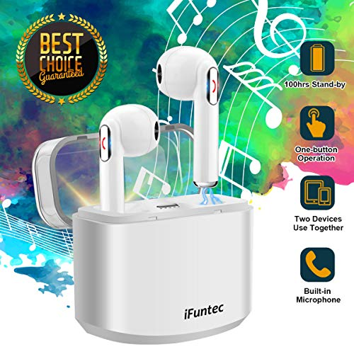 Wireless Earbuds, iFuntec Bluetooth Headphones with Mic Compact in-Ear Headphones Mini Cordless Sports Earphones Stereo True Wireless Earbuds with Portable Charging Case for Android Smartphones White by iFuntec