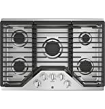 GE JGP5030SLSS, 30 Inch Natural Gas Sealed Burner Style Cooktop with 5 Burners, ADA Compliant, in Stainless Steel