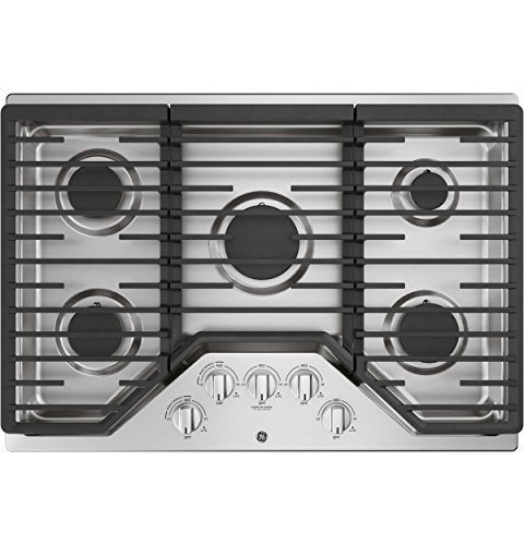 GE JGP5030SLSS 30 Inch Gas Cooktop with Power Boil, Simmer, Continuous Grates, 5 Sealed Burners and ADA Compliant