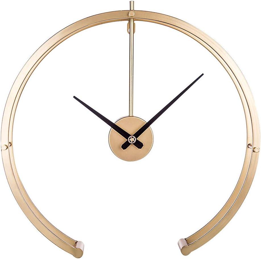 K9CK Minimalista Relojes de Pared, XXL 50cm Reloj de Metal Industrial Silencioso Vintage Decoracion para Dormitorio, Salon, Cocina - Dorado