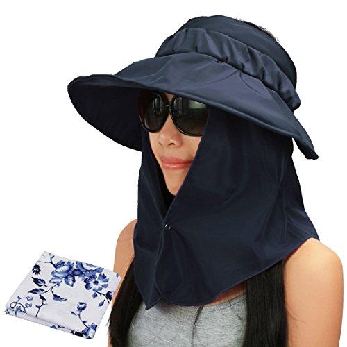 22930c7ead5 ... Sun block hat Folding visor fishing Nylon Cap hiking (grey). kilofly UV  Protection Bendable Wide Brim Roll Up Removable Neck Face Flap Visor