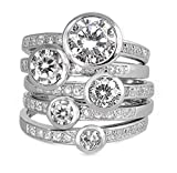 2mm (.25-1ctw) WIDE LARGE Sterling Silver Clear Solitaire Handset Stacked CZ Eternity Ring Set (11)