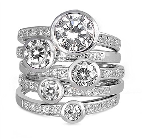 (2mm (.25-1ctw) WIDE LARGE Sterling Silver Clear Solitaire Handset Stacked CZ Eternity Ring Set (11))
