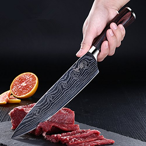 Chef Knife, Kosiehouse High Carbon Stainless Steel Professional 5Cr15Mov Kitchen Knife with Razor Sharp Blade, Damascus Pattern, Ergonomics Handle, Perfect Cutlery Knives for Home Chefs and -