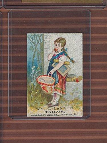 Victorian Card, 1890's, Langley Tailor, Newport RI, Girl Eating - Kids For Ri Newport