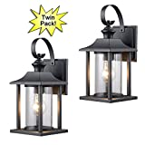 Hardware House 23-0414 Black Outdoor Patio / Porch Wall Mount Exterior Lighting Lantern Fixtures with Clear Glass – Twin Pack
